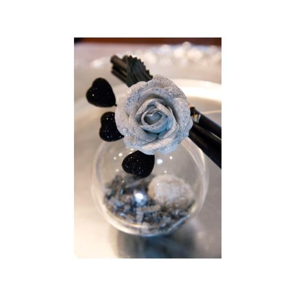 bouquet de 5 mini roses artificielles paillet es bo te drag es. Black Bedroom Furniture Sets. Home Design Ideas