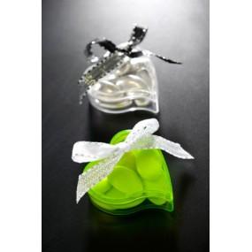 Boite dragées coeur plastique transparente