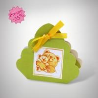 Panier dragées naissance ours vert