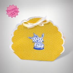 Panier dragées naissance lapin jaune
