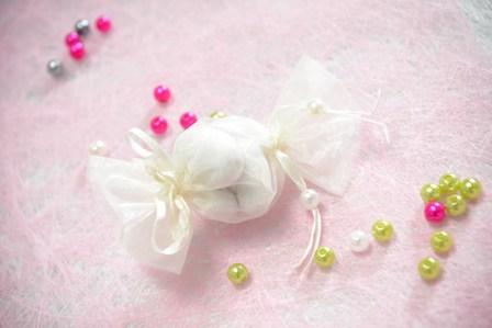 Ballotin dragées tulle en forme de bonbon